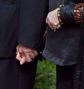 The Rivlin's holding hands